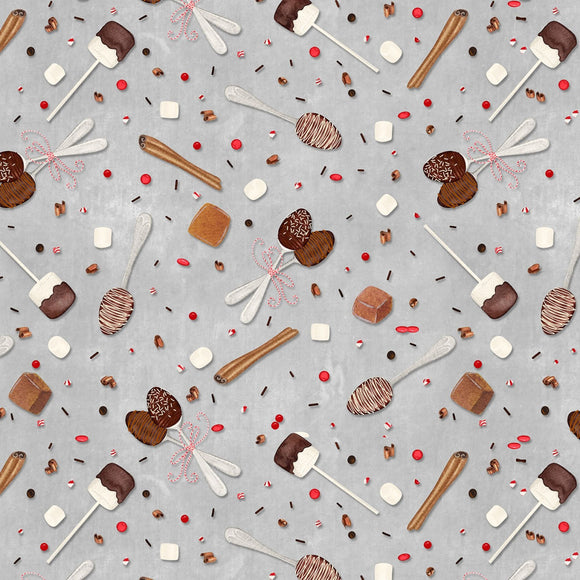 Hot Cocoa Br Gray Sprinkle Spoons Holiday Fabric 27600-923 from Wilmington by the yard