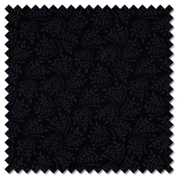 Hue Black Leaf C6085 Fabric from Timeless Treasures by the yard