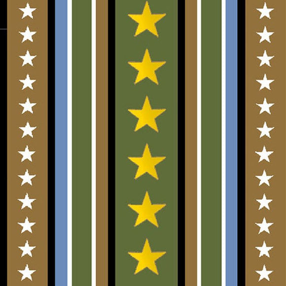 Hugs For Heroes Green Stripe 22774GA from Quilting Treasures