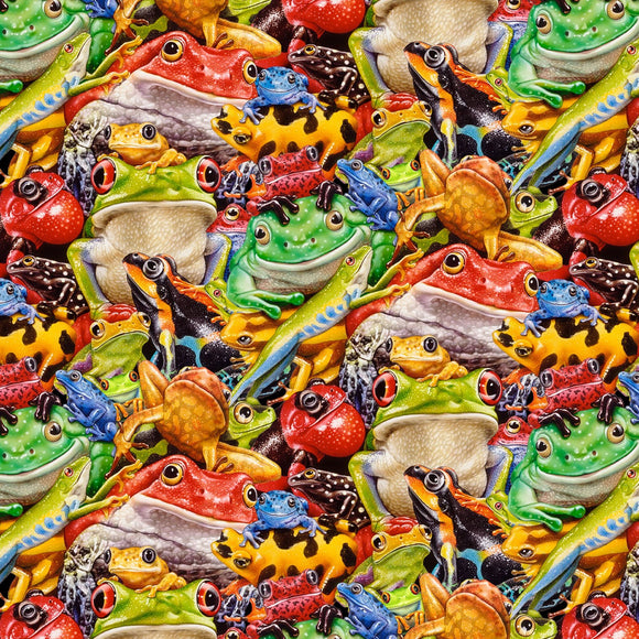 Jewels Of The Jungle Black Digital Piled-Up Frogs Fabric 5565-99 from Studio E by the yard