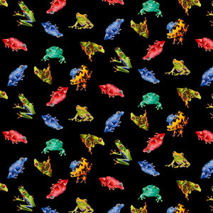 Jewels Of The Jungle Black Digital Frog Toss Fabric 5562-99 from Studio E by the yard