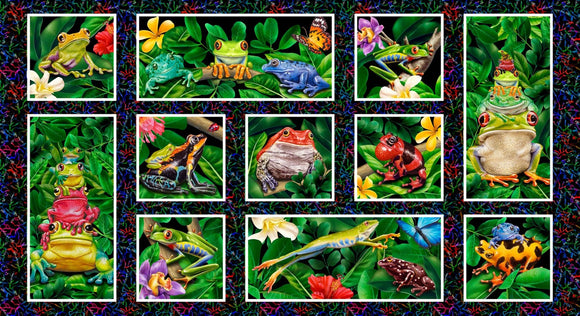 Jewels Of The Jungle Digital Frog Panel from Studio E by the panel