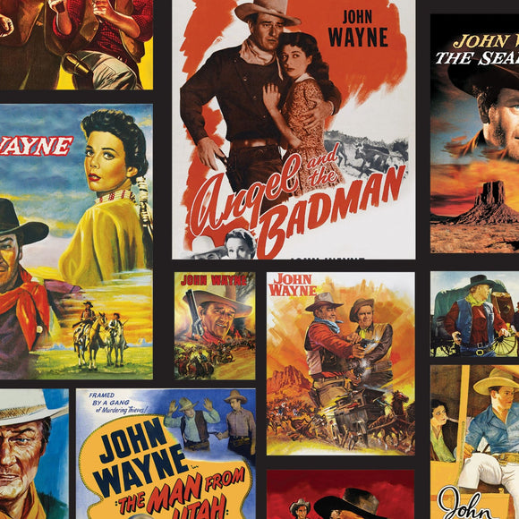 John Wayne Black Movie Poster Patch Fabric C8570 from Riley Blake by the yard