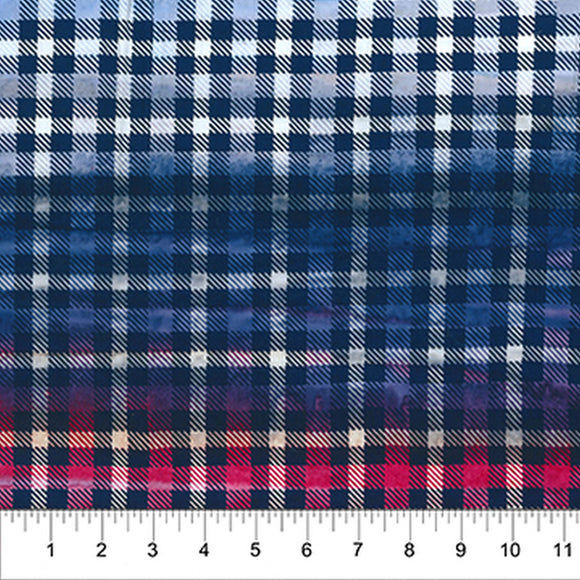 Kilts And Quilts Indigo Rose Plaid Fabric 80390-49 from Northcott by the yard