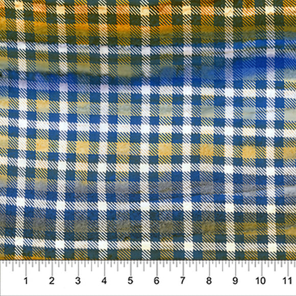 Kilts And Quilts Blue/Orange Plaid Fabric 80390-44 from Banyan Batiks by the yard