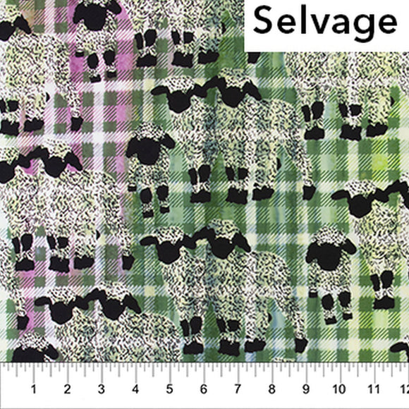 Kilts And Quilts Green Plaid Sheep Fabric 80399-73 from Banyan Batiks by the yard