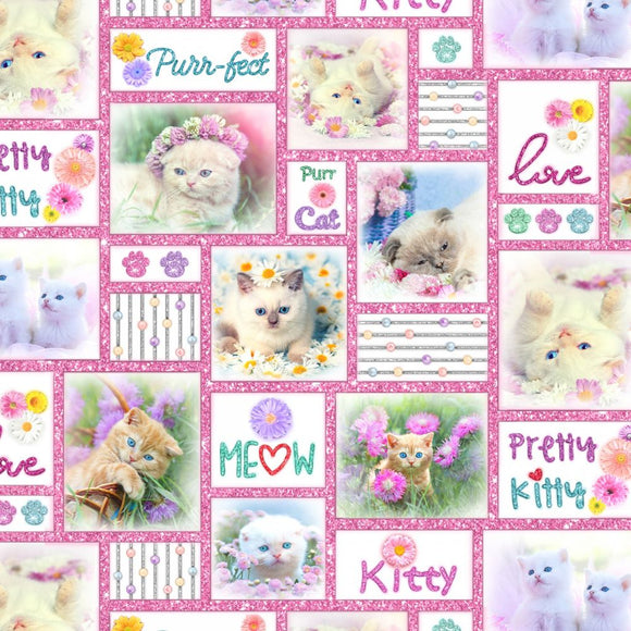 Kitty Glitter Pink Patches Kitty Fabric 4338-22 from Studio E by the yard
