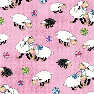 Knit Chicks Pink Sheep Allover Fabric 1456-22 from Henry Glass by the yard