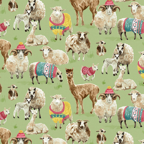 Knit N' Purl Llama and Sheep Fabric 51605-X from Windham by the yard