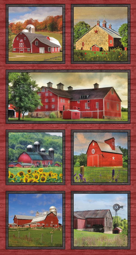 Land I Love Country Barns Panel -1609-99 from Benartex by the panel