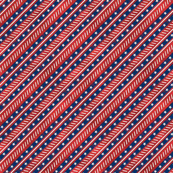 Liberty Lane Patriotic Red Diagonal Stripe Fabric 84460-341 from Wilmington by the yard