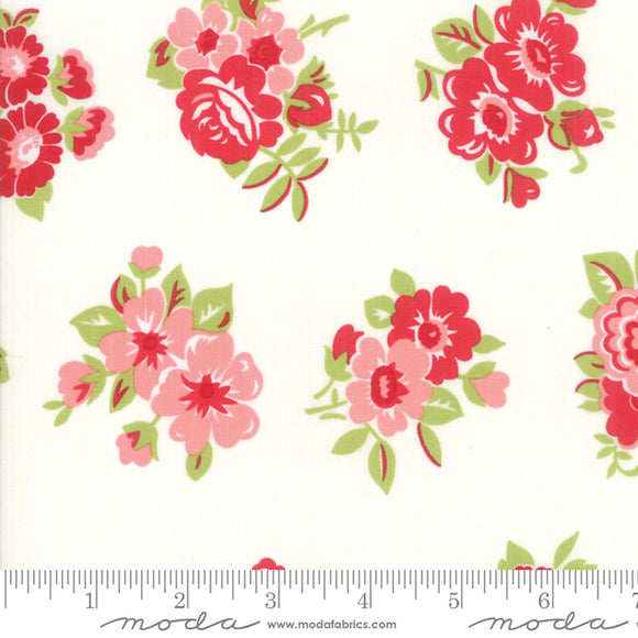 Little Snippets Cream Large Floral Fabric 55188-15 from Moda by the yard