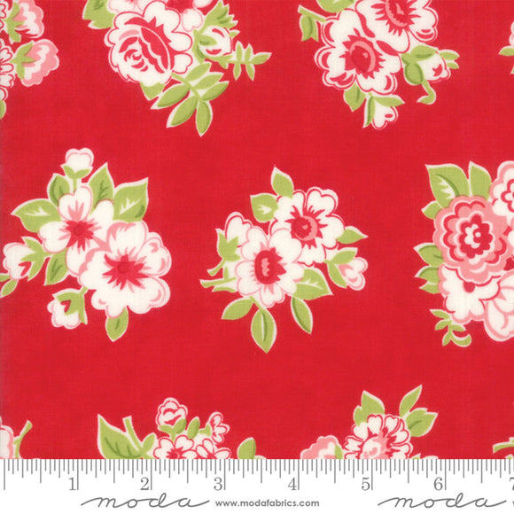 Little Snippets Large Red Floral Fabric 55188-11 from Moda by the yard
