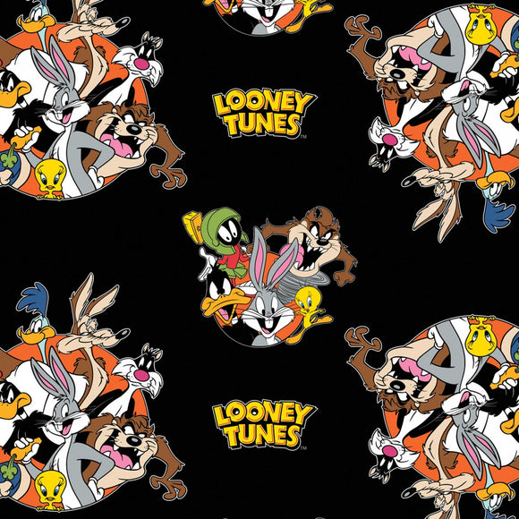 Looney Tunes That's All Folks Black Novelty Fabric 23600101-02 from Camelot by the yard