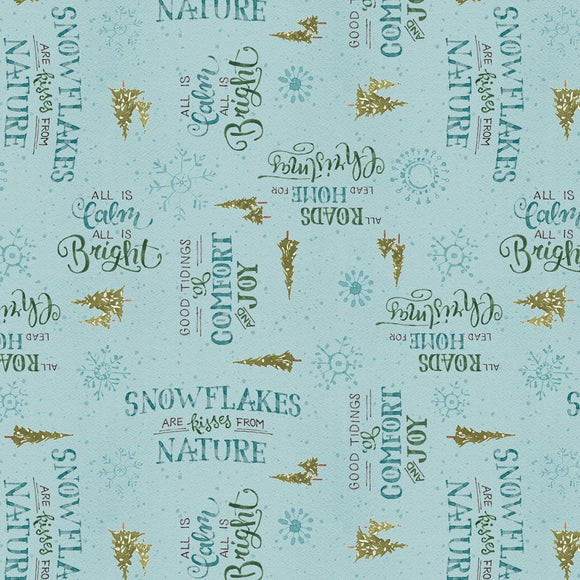 Magical Christmas Blue Words Allover Holiday Fabric 86464-447 from Wilmington by the yard