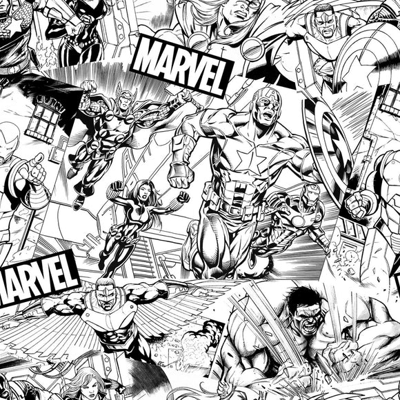 Marvel Avenger Sketch Fabric 73228-A620715 from Springs Creative by the yard