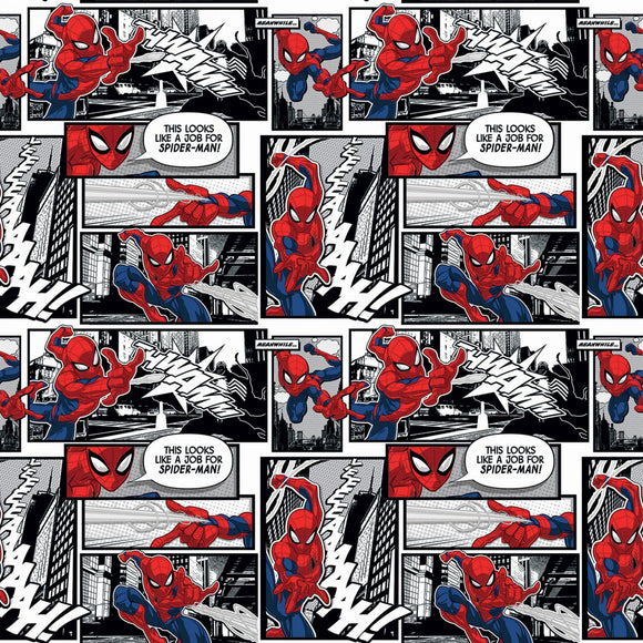 Marvel Spiderman Comic Packed Fabric 7184-A620715 from Springs Creative by the yard