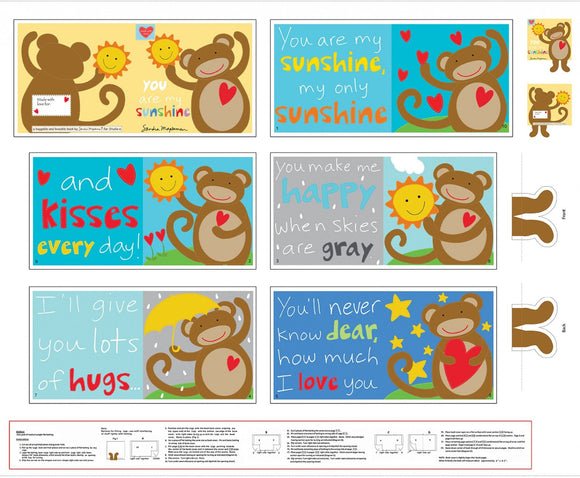 Huggable & Loveable Monkey Soft Book Panel 5533P-1 Studio E by the panel