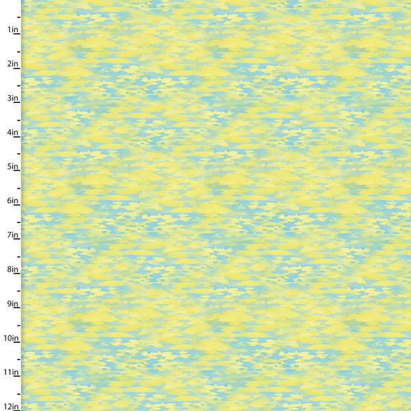 Mystic Ocean Yellow Reflections Digitally Printed Fabric 16409-Yellow from 3 Wishes by the yard
