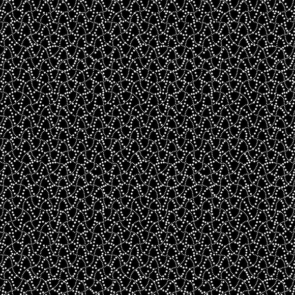 Night & Day Dot Waves Black/White Fabric 10405-90 from Kanvas/Benartex by the yard