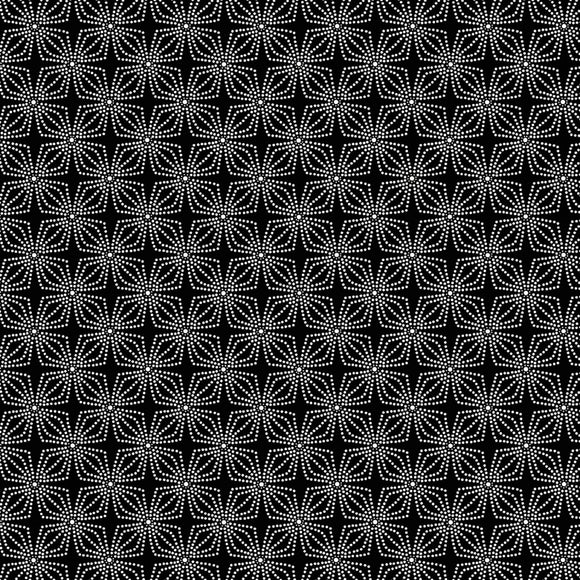 Night & Day Geo Bloom Black/White Fabric 9806-90 from Kanvas/Benartex by the yard
