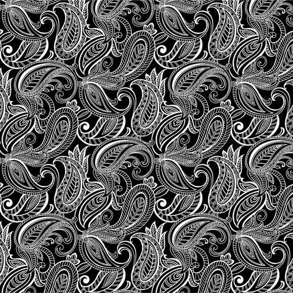 Night & Day Paisley Black/White Fabric 10402-90 from Kanvas/Benartex by the yard