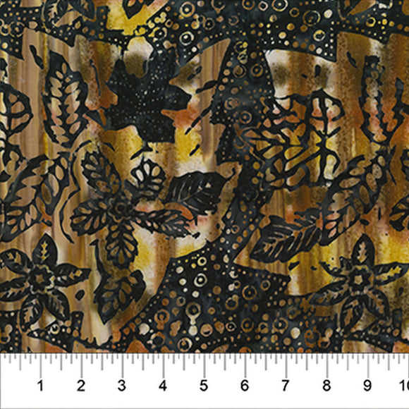 Painted Leaves Black Leaves Fall Batik Fabric 80362-52 from Banyan Batiks by the yard