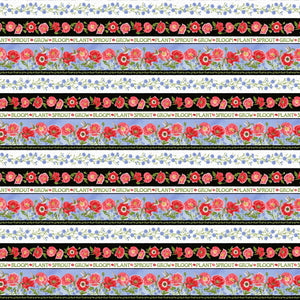 Poppy Meadows Repeating Border Stripe Fabric 1889-89 from Henry Glass by the yard