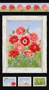 "Poppy Meadows 24"" x 44"" Panel 1984P-89 from Henry Glass by the panel"