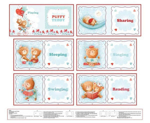 Puffy Teddy Soft Book Panel 2958P-11 from Studio E by the panel