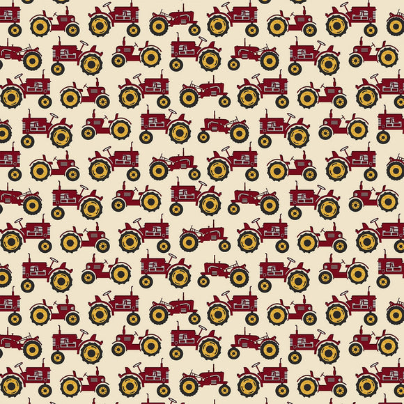 Quilt Barn Cream/Red Tractors Fabric 10194-19 from Benartex by the yard