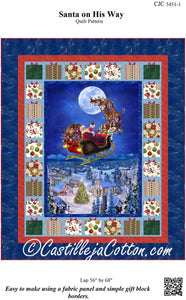 To All A Good Night Santa On His Way Lap Throw Quilt Pattern from Castille Cotton by the pattern