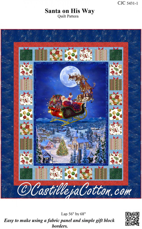 To All A Good Night Santa On His Way Lap Throw Quilt Pattern from Castilleja Cotton by the pattern