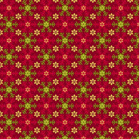 Santa's List Red Snowflake Holiday Fabric 27263R from Quilting Treasures by the yard