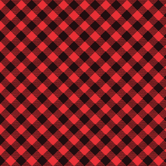 Snow Place Like Home Red Diagonal Buffalo Check Fabric 5171-98 from Studio E