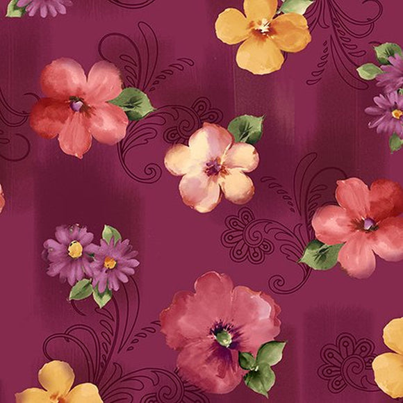 Sophia Dark Cranberry Floral Fabric 1649-26071-M from Quilting Treasures by the yard