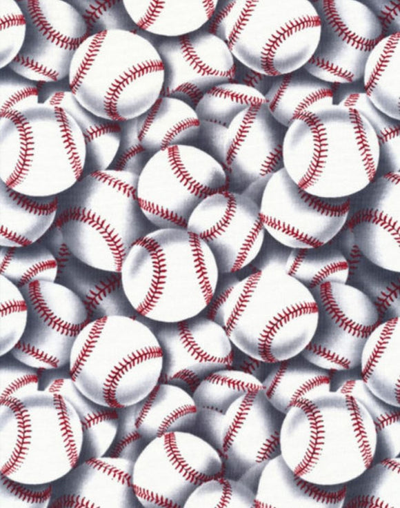 Sports White Baseballs Fabric C2159 from Timeless Treasures by the yard.
