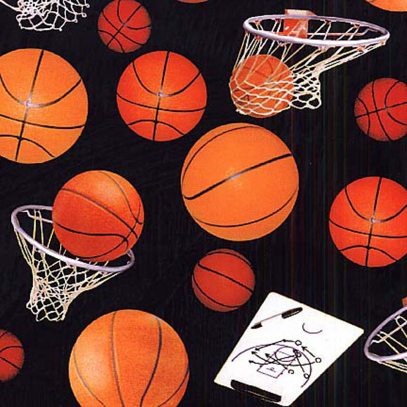 Sports Black Basketballs & Hoops Fabric 132-Black from Elizabeth Studio by the yard