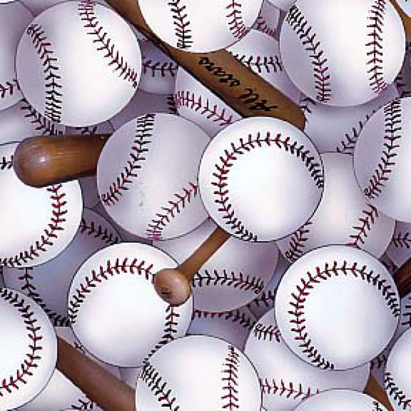 Sports Packed Baseballs & Bats Fabric 112-White from Elizabeth's Studio by the yard