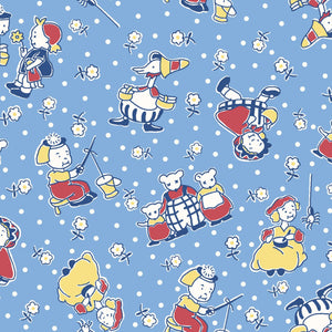 Story Time Blue Mother Goose 30's Reproduction Fabric MAS9800-B from Maywood by the yard