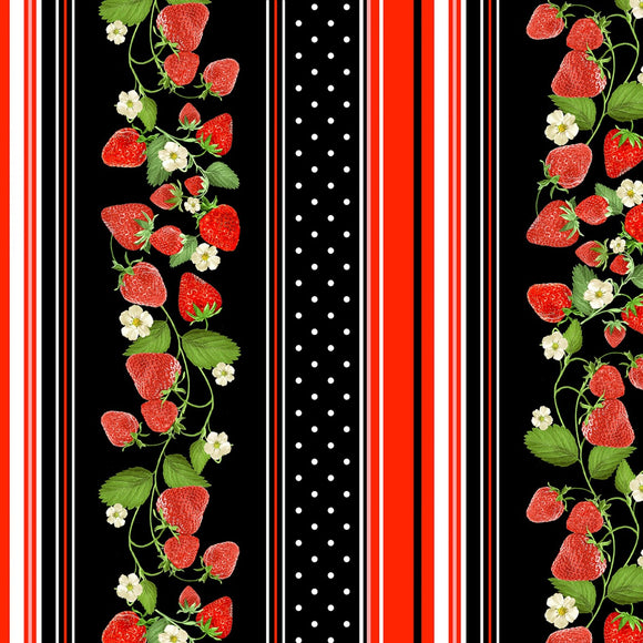 Strawberry Fields Forever Black Strawberry Repeating Stripe Fabric 09771-12 from Benartex by the yard
