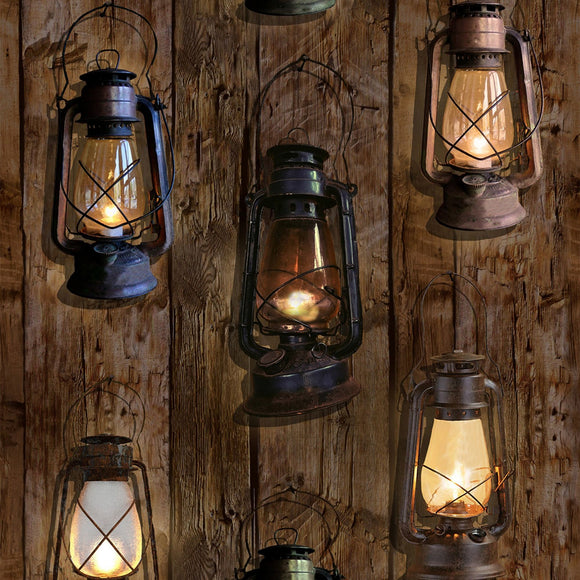 Sun Up To Sun Down Barn Lanterns Digital Fabric S4835-342 from Hoffman by the yard