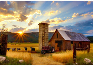 "Sun Up To Sun Down 44"" x 30"" Red Barn Digital Panel R4689-83 from Hoffman by the panel"