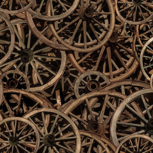 Sun Up To Sun Down Rusty Wheels Fabric R4691-700 from Hoffman by the yard