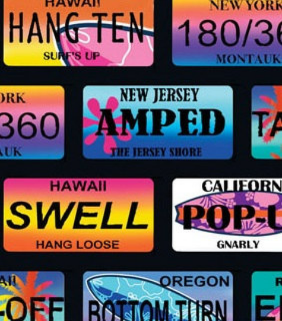 Surf's Up Black License Plates 6558-12 from Kanvas