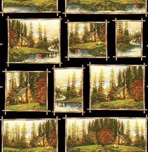 Thomas Kinkade Peaceful Retreat Allover Squares 05460-99 from Benartex by the yard