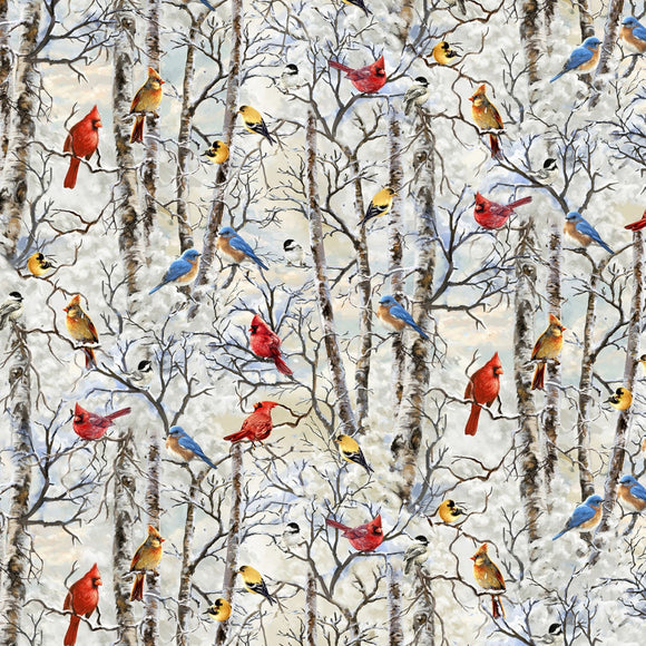 Tree Farm Cardinals on White Snow Branches Fabric C7593 from Timeless Treasures by the yard