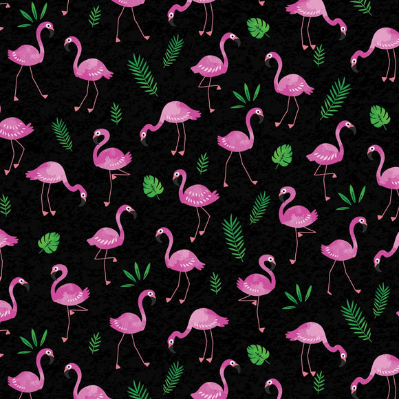 Tropical Breeze Black Flamingo Frenzy Fabric 09718-12 from Kanvas by the yard
