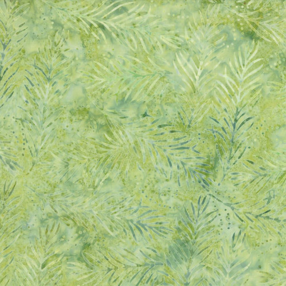 Wilmington Light Green Delicate Fronds Batik Fabric 22191-757 by the yard