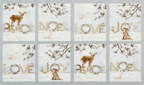 Winter White 3 Silver Woodland Ice Blocks Panel w/Silver Metallic from Robert Kaufman